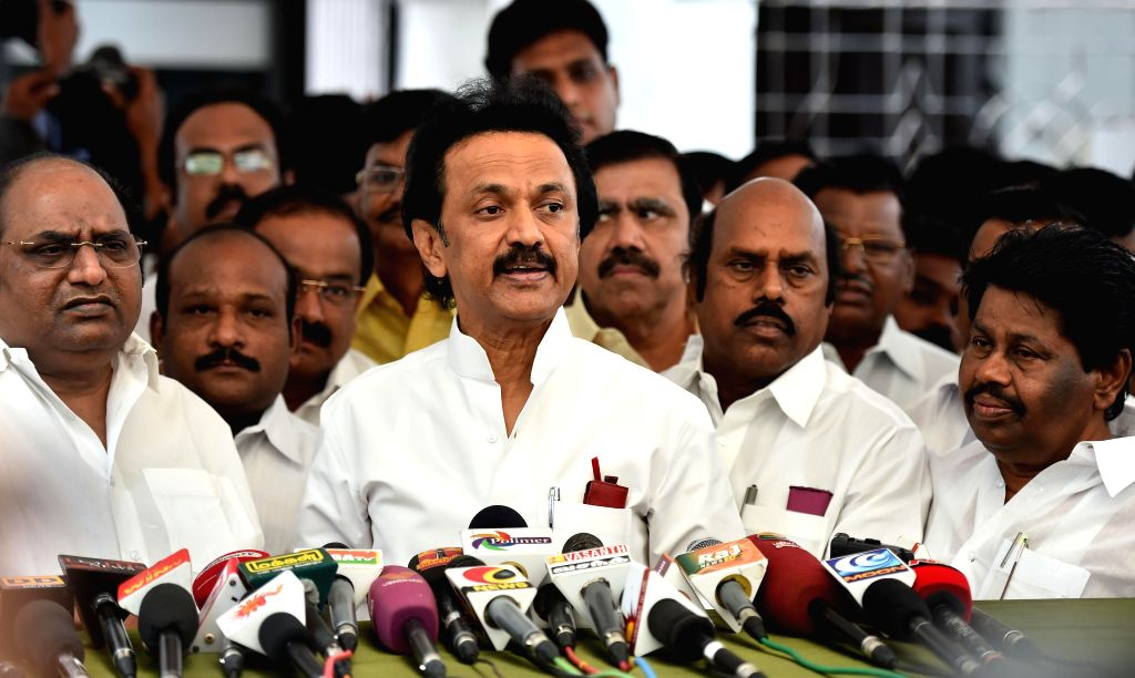 DMK leader M K Stalin addresses press after walking out of Tamil Nadu Legislative Assembly in Chennai on July 10, 2014.