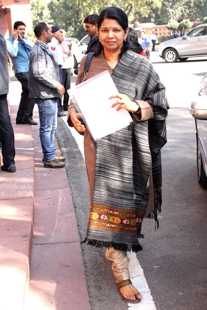 DMK MP Kanimozhi at the Parliament premises in New Delhi, on Dec 1, 2014.