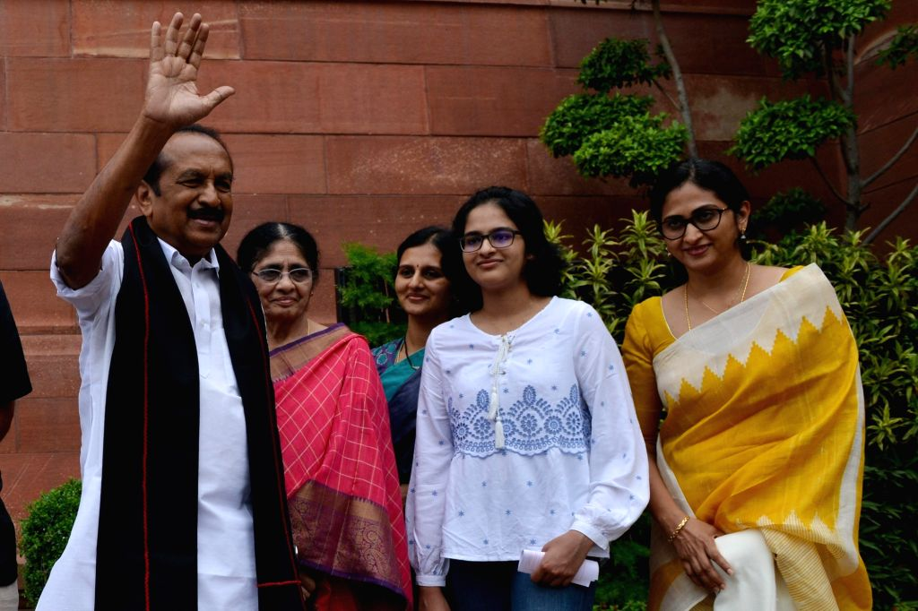 DMK MP Vaiko at Parliament, in New Delhi on July 25, 2019.