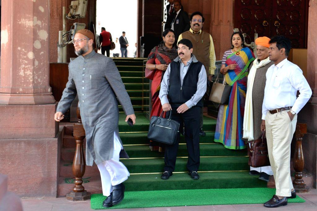 DMK MPs Kanimozhi, Dayanidhi Maran and AIMIM MP Asaduddin Owaisi at Parliament in New Delhi on Dec 3, 2019.