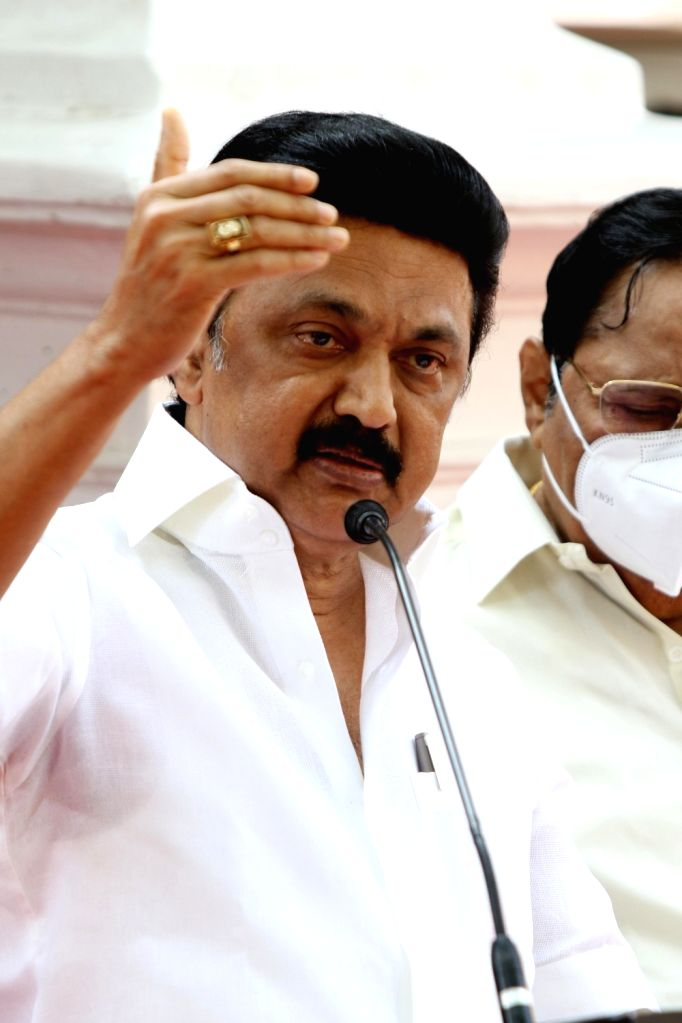 DMK President and the son of the M Karunanidhi, MK Stalin held a press conference in front of the late Karunanidhi's home at Gopalapuram in Chennai.