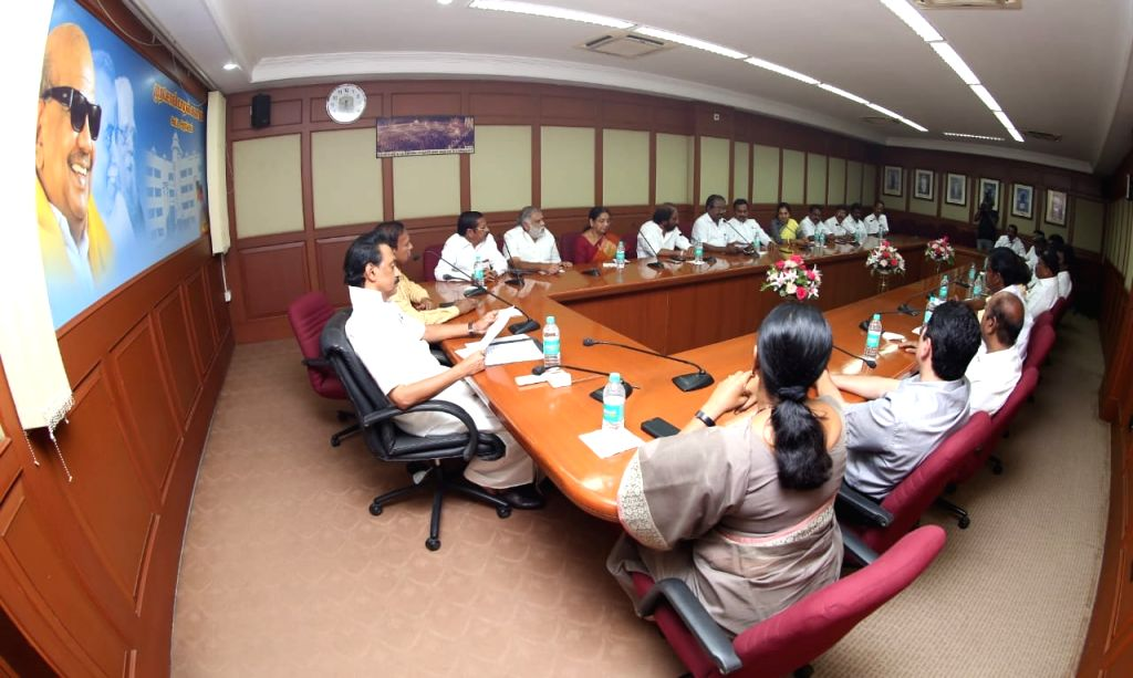 DMK President M.K. Stalin chairs a meeting with the party's newly elected MPs and MLAs at the party's headquarters in Chennai, on May 25, 2019.
