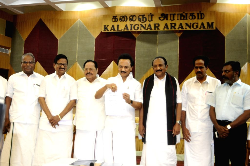 DMK President M.K. Stalin releases the list of Lok Sabha constituencies from where the party and its allies would field candidates ahead of 2019 Lok Sabha elections, in Chennai on March 15, ...
