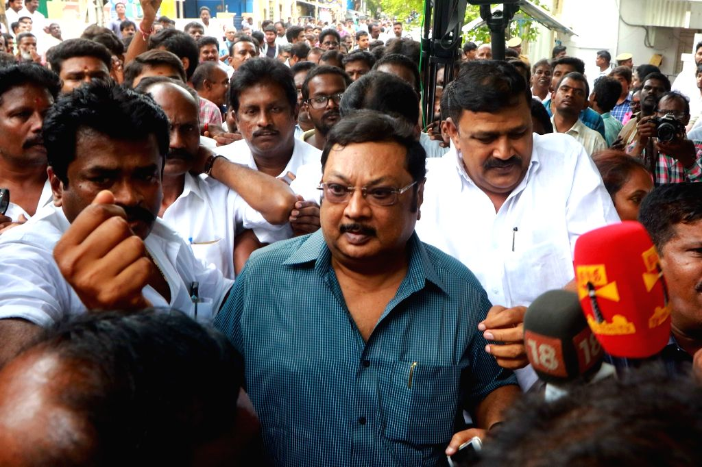 DMK President M. Karunanidhi's eldest son M K Alagiri visits his father at his residence, in Chennai, on July 27, 2018. M. Karunanidhi (94) is suffering from urinary tract infection and is ...