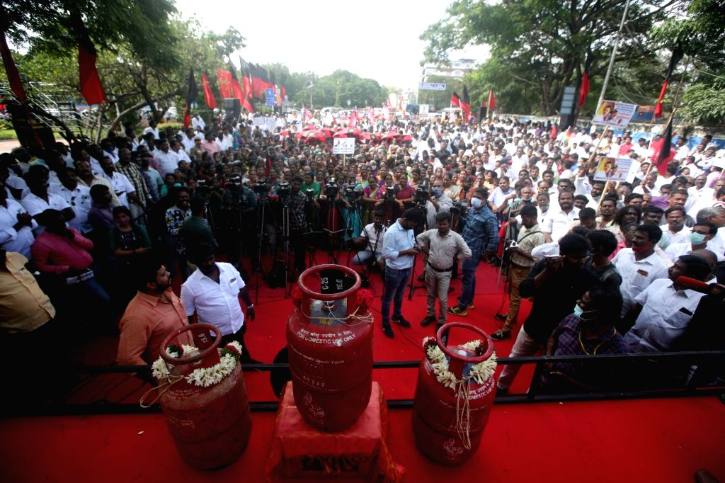 DMK protest against fuel price hike on Monday 22nd February 2021.