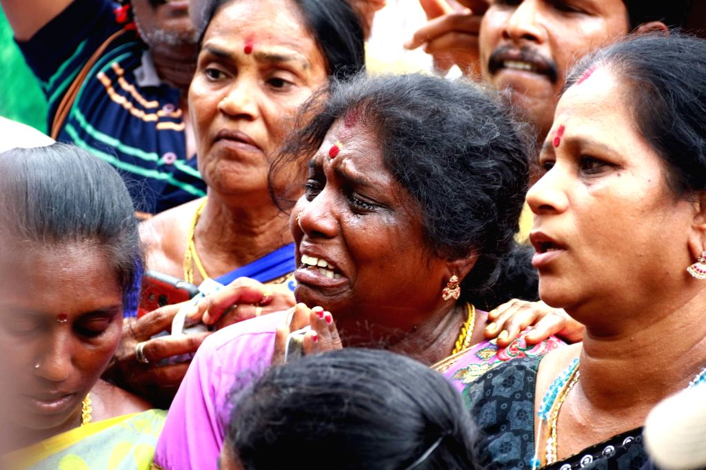 DMK supporters griefs outside DMK President M. Karunanidhi's Gopalapuram residence , in Chennai, on July 27, 2018. M. Karunanidhi (94) is suffering from urinary tract infection and is being ...