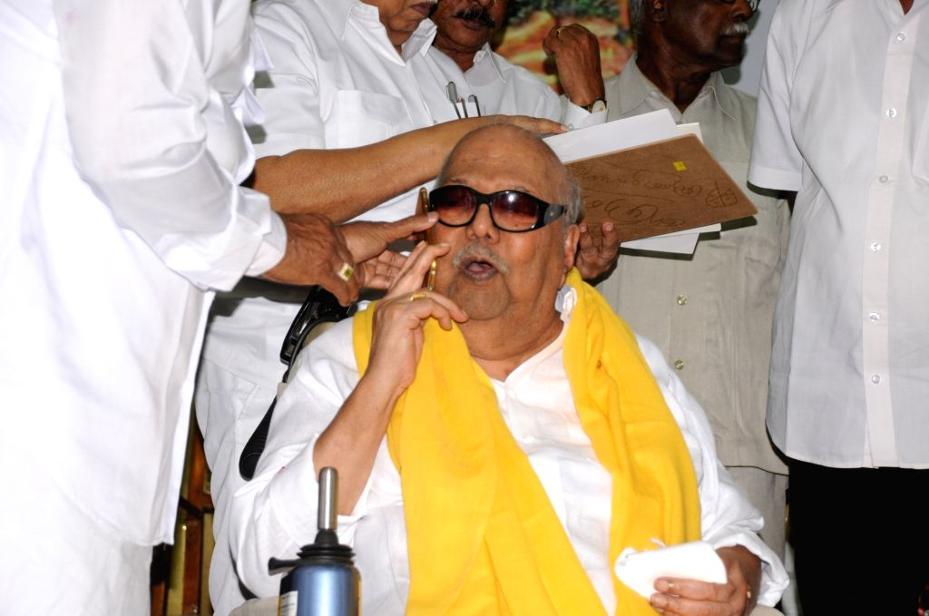 DMK supremo  M Karunanidhi during a programme organised to celebrate his birthday in Chennai, on June 3, 2016.