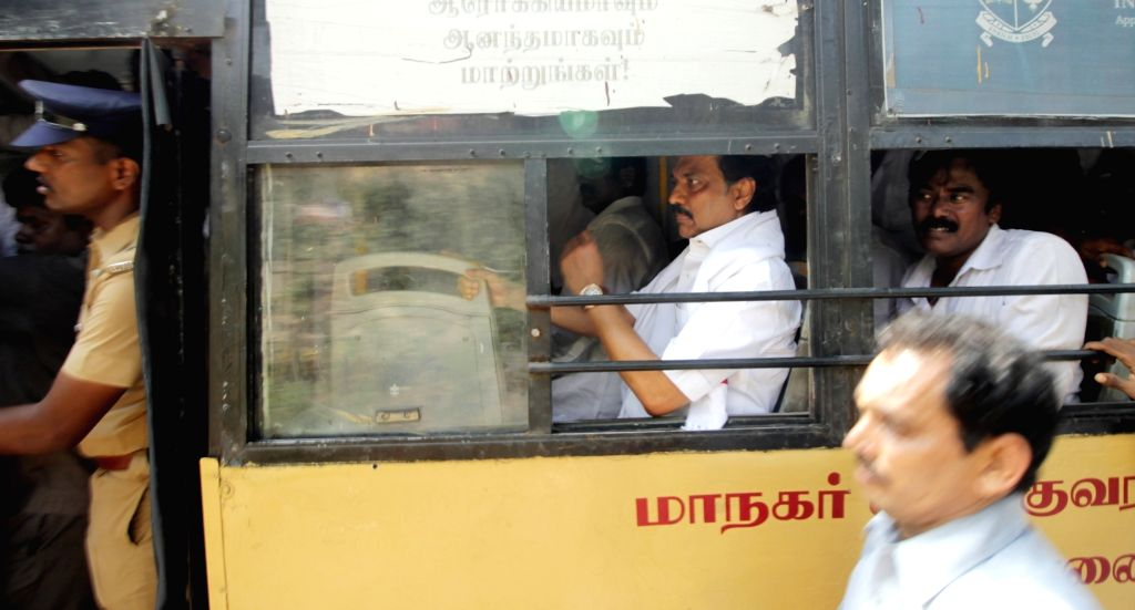 DMK workers led by M K Stalin stage a rail blockade over sharing of Cauvery water in Chennai, on Oct 16, 2016.