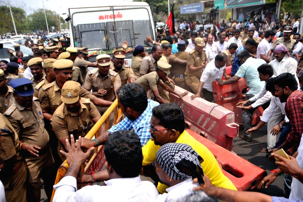 DMK workers stage anti-Sterlite protests; outside Tamil Nadu Secretariat in Chennai on May 24, 2018.