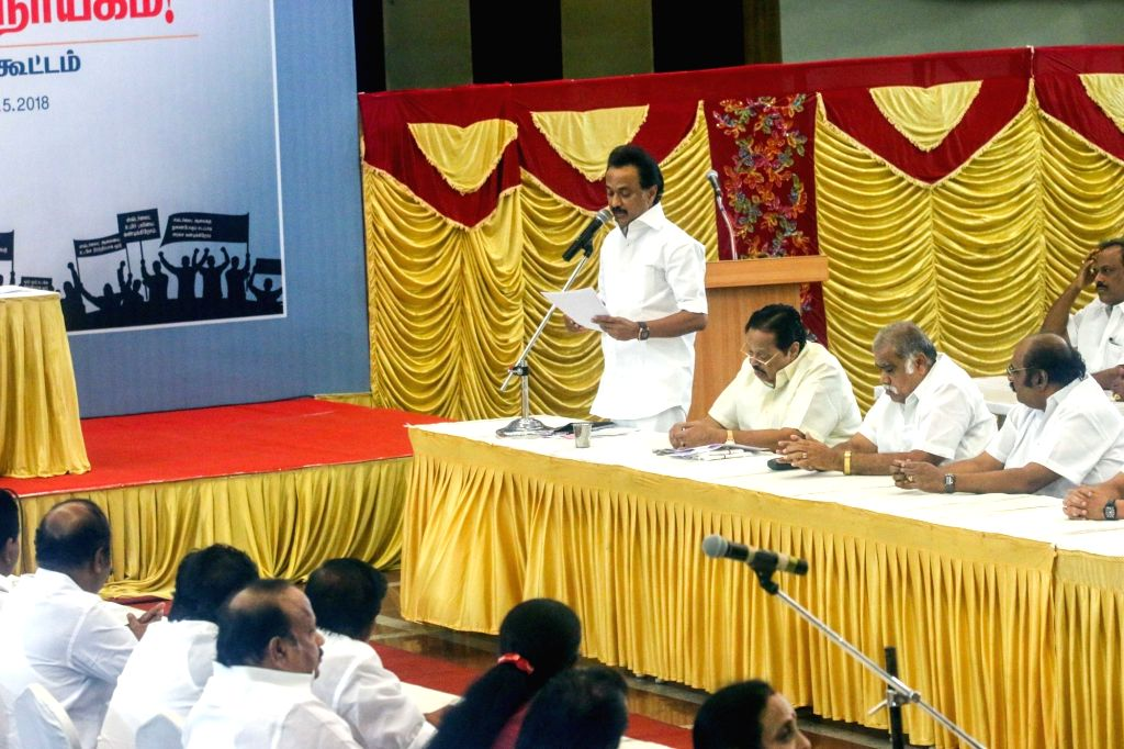 DMK working president M. K. Stalin addresses during his party's mock assembly session, in Chennai on May 30, 2018