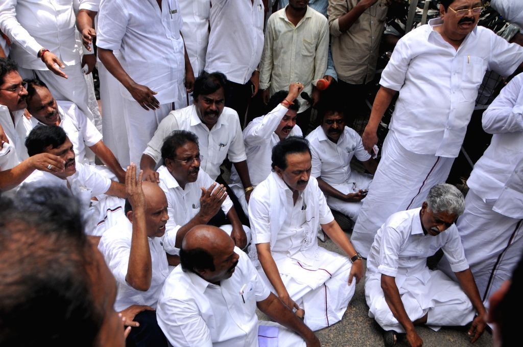 DMK working president M.K. Stalin along with party workers during his party's anti-Sterlite protests; outside Tamil Nadu Secretariat in Chennai on May 24, 2018.