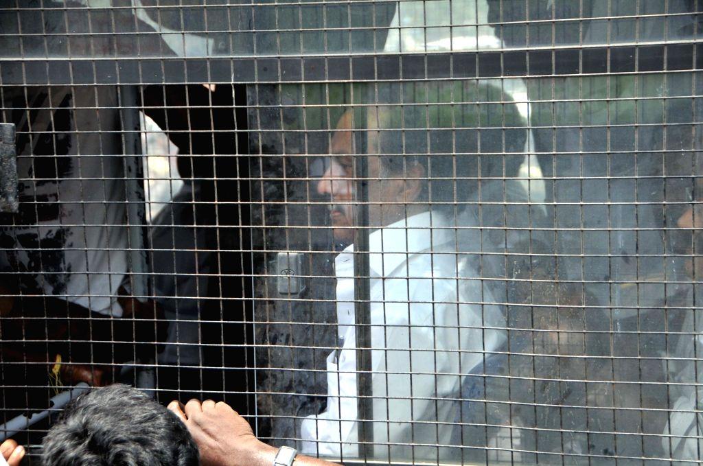 DMK working president M.K. Stalin being taken away during his party's anti-Sterlite protests; at Tamil Nadu Secretariat in Chennai on May 24, 2018.