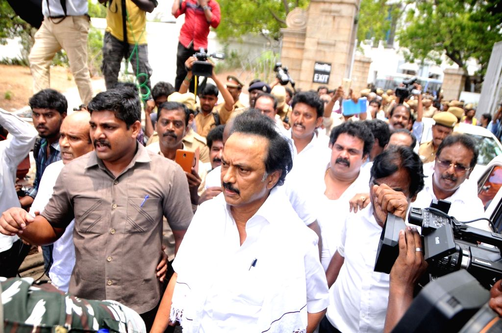 DMK working president M.K. Stalin during his party's anti-Sterlite protests; at Tamil Nadu Secretariat in Chennai on May 24, 2018.
