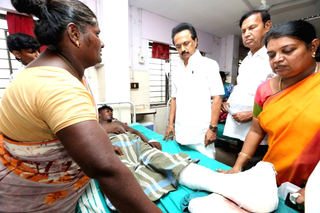 DMK working president M. K. Stalin meets those undergoing treatment at a government hospital for their injuries sustained in police firing during anti-Sterlite protests, in Tamil Nadu's ...