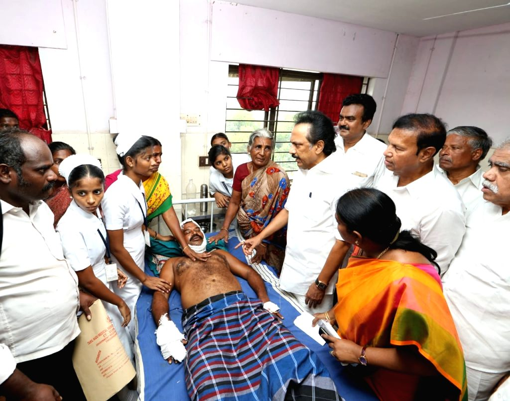 DMK working president M. K. Stalin talks to the media after meeting those undergoing treatment at a government hospital for their injuries sustained in police firing during anti-Sterlite ...