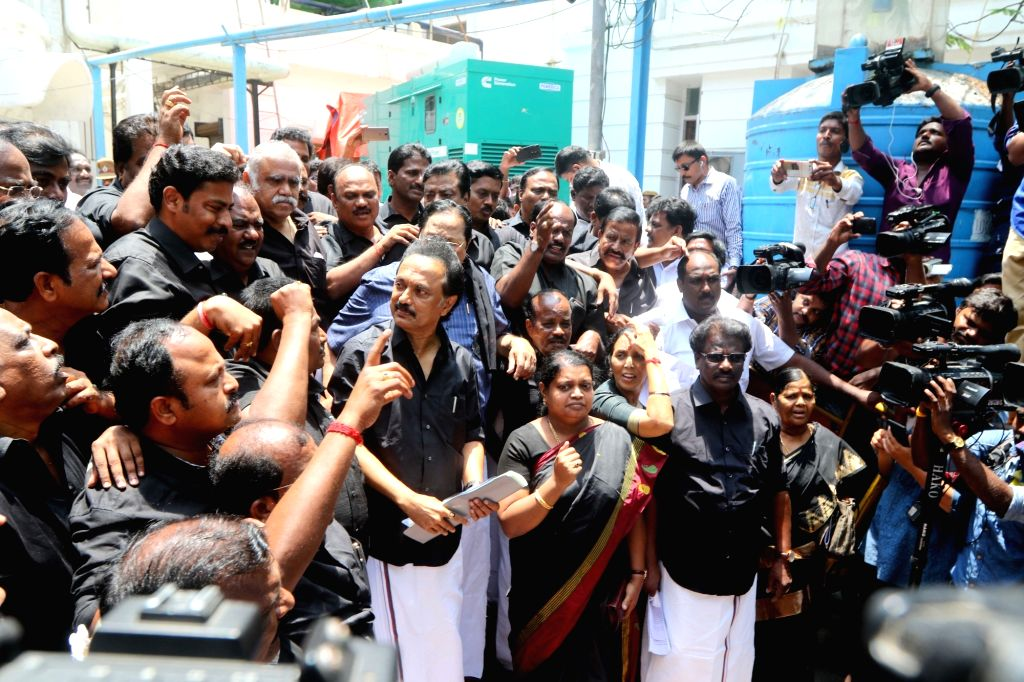 DMK working president MK Stalin and party workers stage a demonstration wearing black clothes, against the death of 13 people who lost their lives in police firing during anti-Sterlite ...