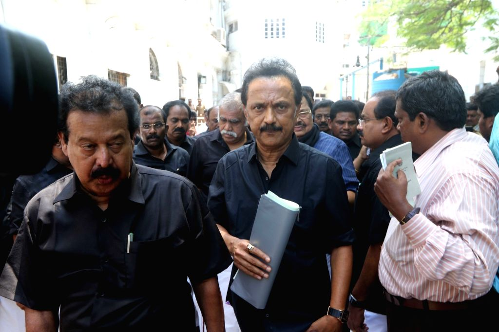 DMK working president MK Stalin arrives at the state Assembly, in Chennai on May 29, 2018.