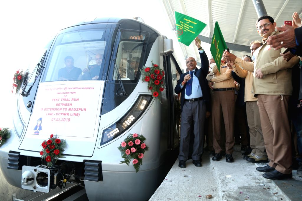 DMRC MD Mangu Singh flags off the Test Run run between the I.P. Extension and Maujpur elevated section of the upcoming Majlis Park - Shiv Vihar corridor of Pink Line in New Delhi on Feb 7, ... - Mangu Singh