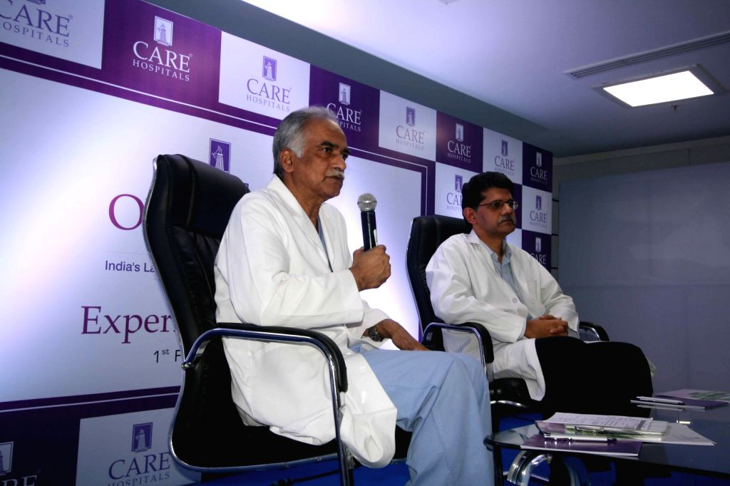 Doctors addressing media about the health of former minister Shanker Rao at Care Hospital on Feb. 1. - Shanker Rao