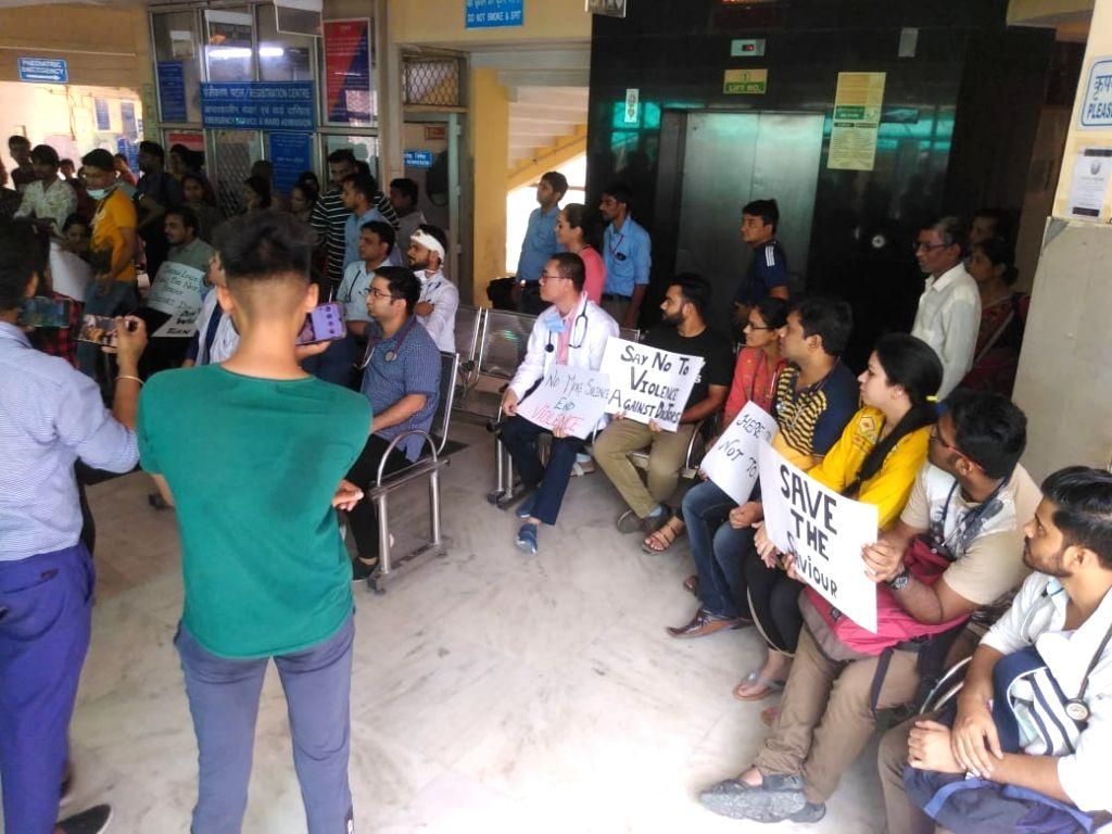 Doctors go on strike at Pandit Madan Mohan Malaviya Hospital in New Delhi on June 15, 2019.