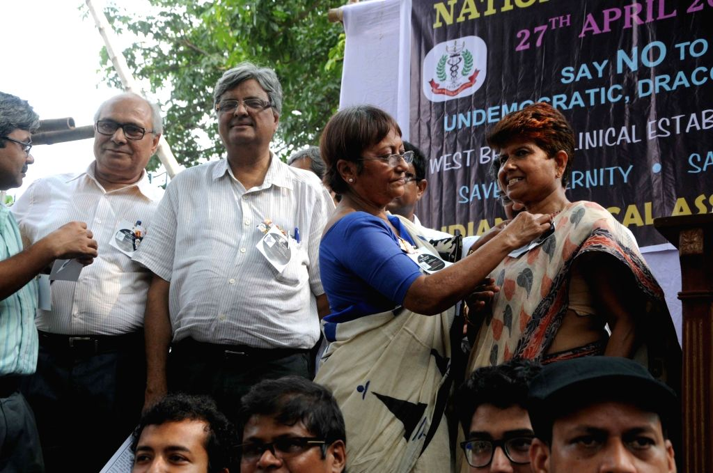 Doctors observing Black Badge day against the West Bengal Clinical Establishment Bill in Kolkata on April 27, 2017.