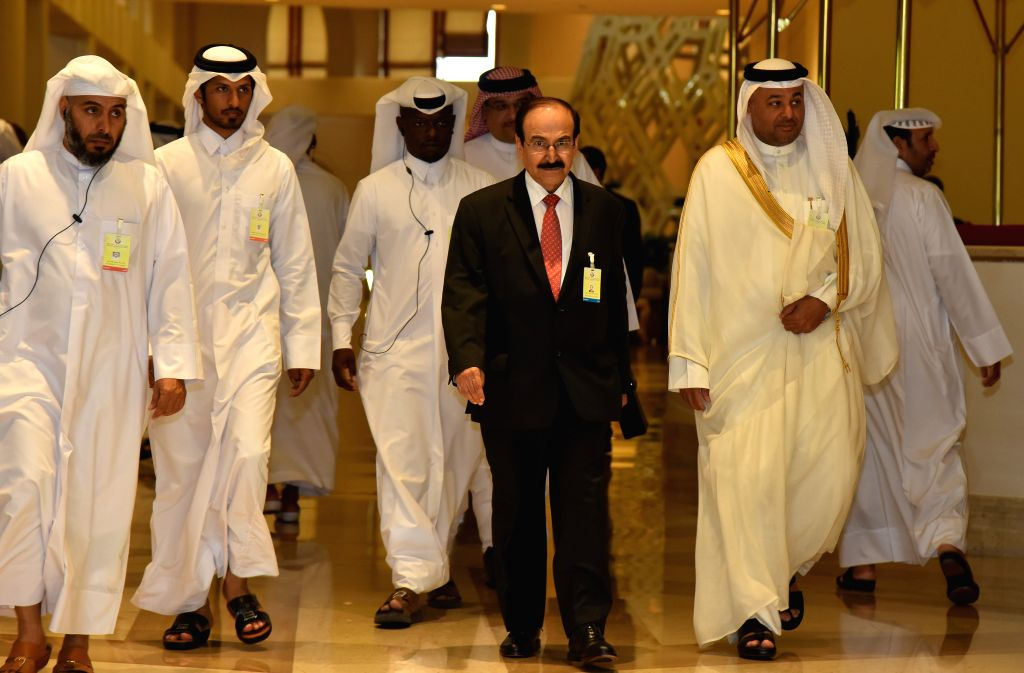 DOHA, April 18, 2016 - Bahrain's Minister of Energy Abdul Hussain bin Ali Mirza (2nd R F) arrives for the Organization of Petroleum Exporting Countries (OPEC) and non-OPEC oil producers meeting at ... - Mirza