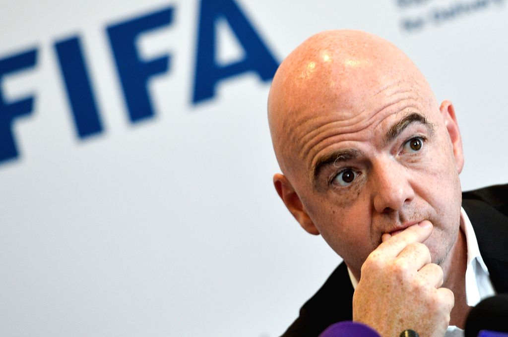 DOHA, April 22, 2016 - FIFA President Gianni Infantino attends a joint press conference for FIFA President Gianni Infantino, Supreme Committee for Delivery and Legacy Qatar 2022 World cup, and Qatar ...