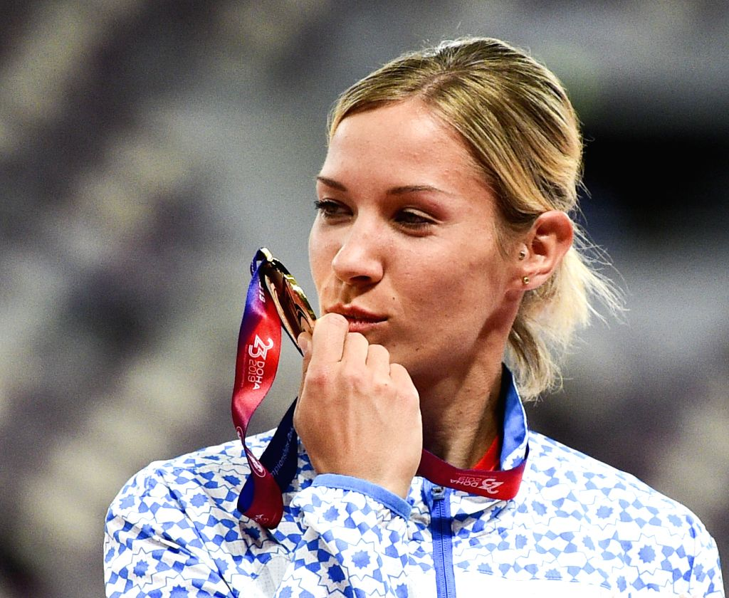 DOHA, April 24, 2019 - Gold medalist Uzbekistan's Ekaterina Vornina kisses her medal during the awarding ceremony of Heptathlon at the 23rd Asian Athletics Championships at Khalifa International ...