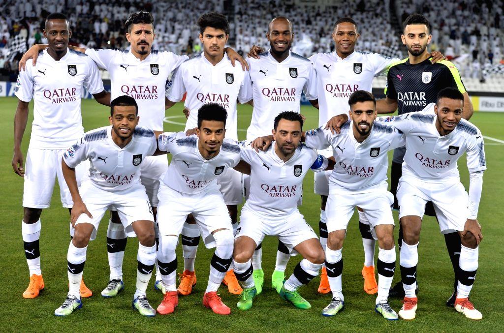 DOHA, April 3, 2018 - Players of Al Sadd line up ahead of the AFC Champions League Group C soccer match between Qatar's Al Sadd SC and Al Wasl FC of the United Arab Emirates (UAE) at Jassim Bin Hamad ...