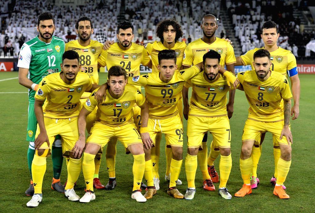 DOHA, April 3, 2018 - Players of Al Wasl FC line up ahead of the AFC Champions League Group C soccer match between Qatar's Al Sadd SC and Al Wasl FC of the United Arab Emirates (UAE) at Jassim Bin ...