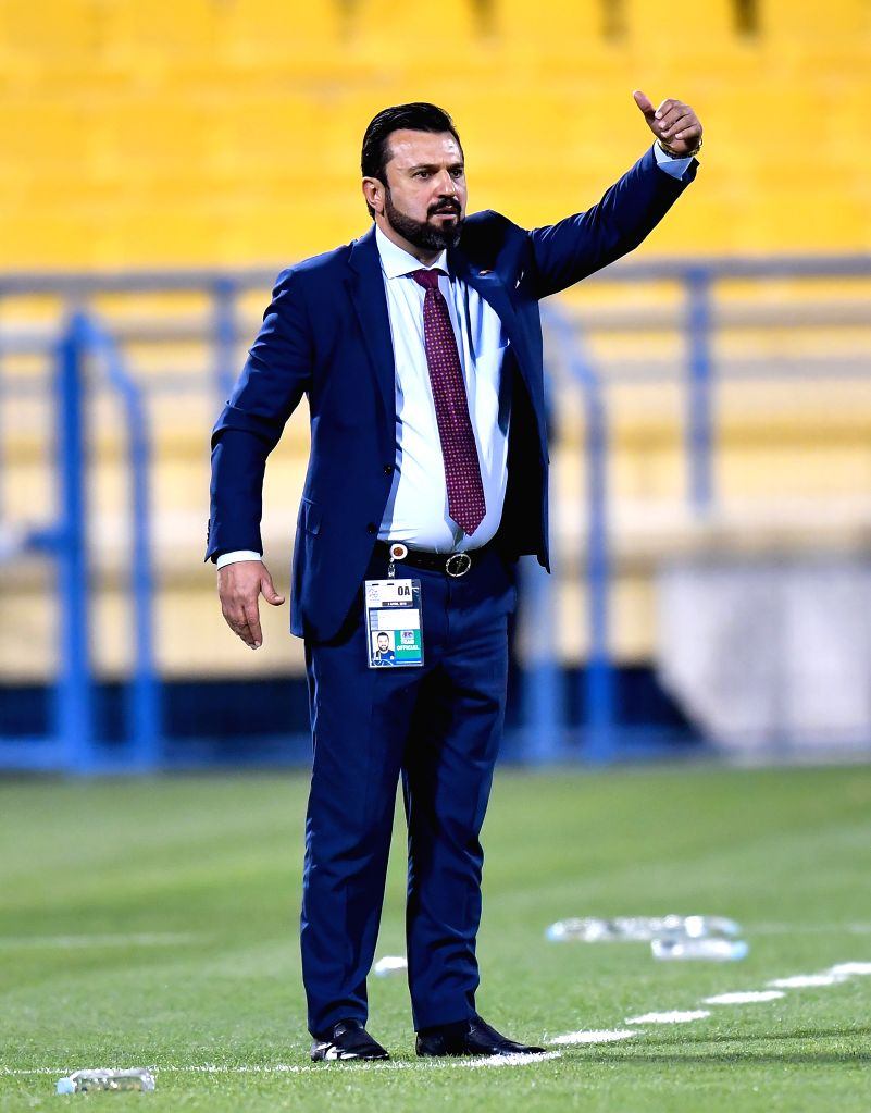 DOHA, April 4, 2018 - Al Gharafa Turkish head coach Bulent Uygun reacts during the AFC Champions League Group A soccer match between Qatar's Al Gharafa and Al Jazira FSC of the United Arab Emirates ...