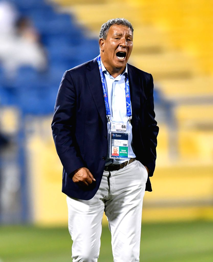 DOHA, April 4, 2018 - Al Jazira FSC's Dutch head coach Henk ten Cate reacts during the AFC Champions League Group A soccer match between Qatar's Al Gharafa and Al Jazira FSC of the United Arab ...