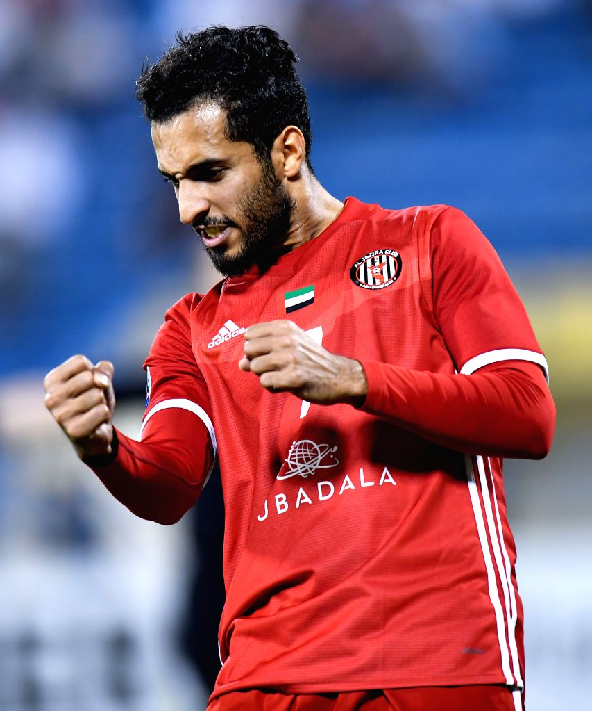 DOHA, April 4, 2018 - Ali Mabkhout Al Hajeri of Al Jazira FSC celebrates after scoring the second goal against Al Gharafa during the AFC Champions League Group A soccer match between Qatar's Al ...