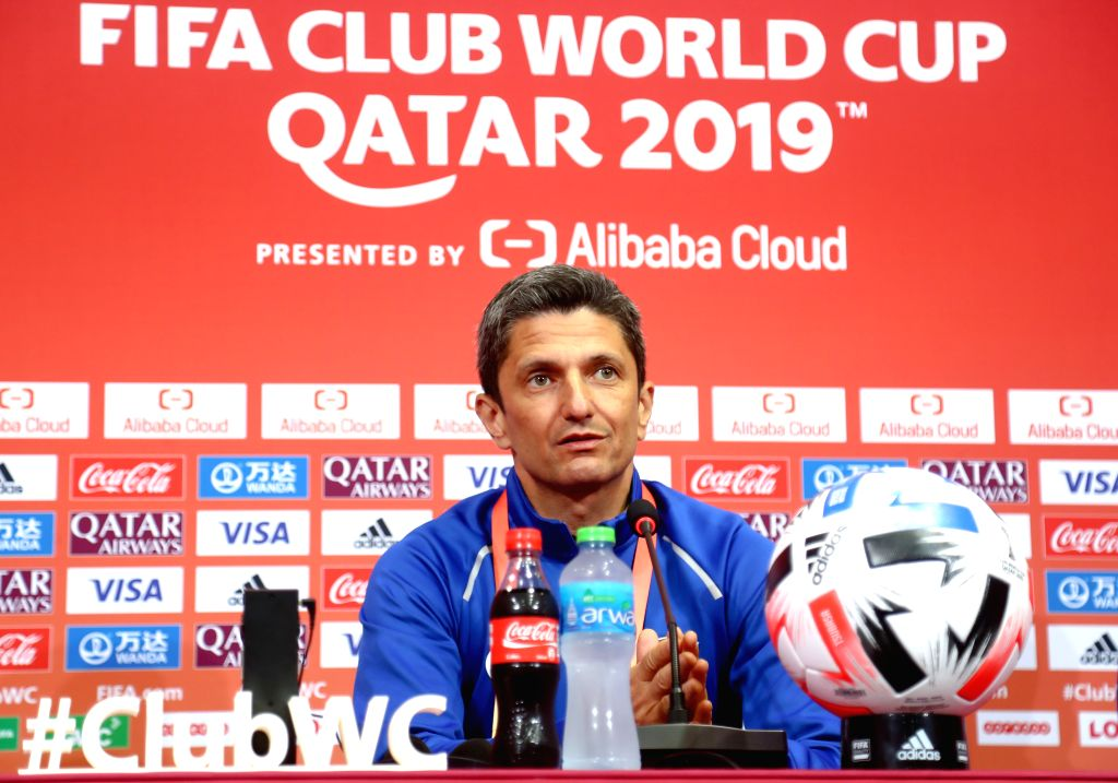 DOHA, Dec. 14, 2019 - Al Hilal FC's head coach Razvan Lucescu attends a press conference at Jassim bin Hamad Stadium in Doha, Qatar, on Dec. 13, 2019. Al Hilal FC will face Esperance Sportive de ...