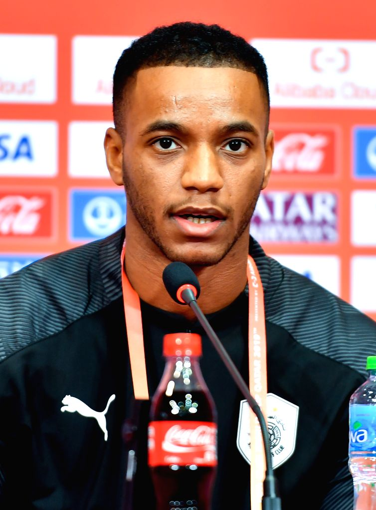 DOHA, Dec. 14, 2019 - Al-Sadd Sports Club's player Salem Al Hajri attends a press conference at Jassim bin Hamad Stadium in Doha, Qatar, on Dec. 13, 2019. Al Sadd SC will face Monterrey in their FIFA ...