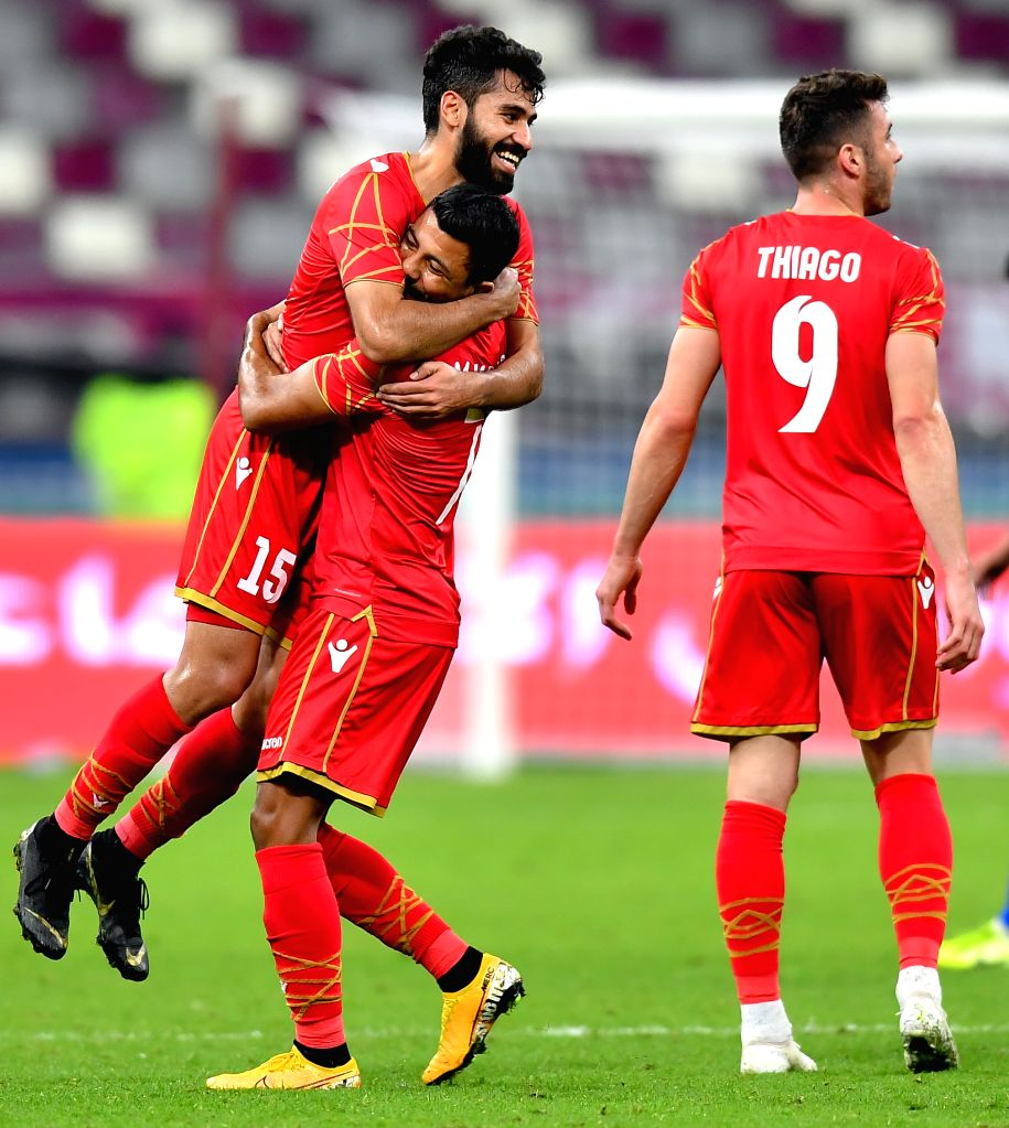 DOHA, Dec. 3, 2019 - Players of Bahrain celebrate after the 24th Arabian Gulf Cup 2019 Group B football match between Kuwait and Bahrain in Doha, Qatar, Dec. 2, 2019.