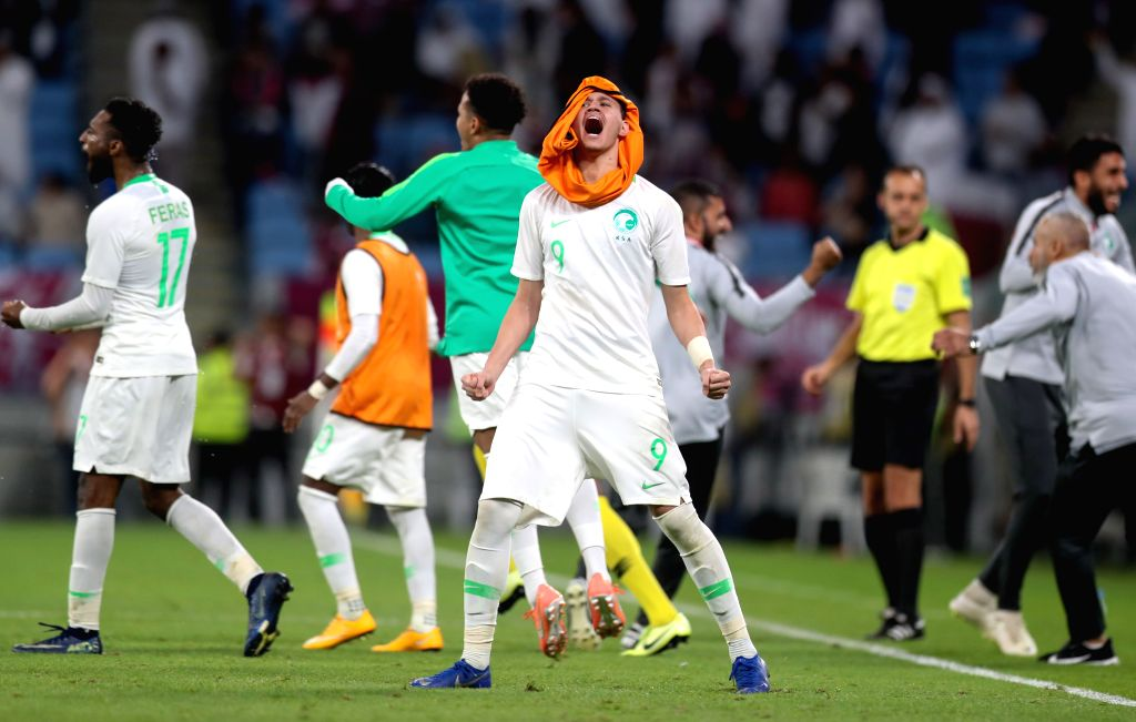 DOHA, Dec. 6, 2019 - Abdullah Al Hamdan (C) of Saudi Arabia celebrates after the 24th Arabian Gulf Cup 2019 semifinal match between Qatar and Saudi Arabia in Doha, Qatar, Dec. 5, 2019.
