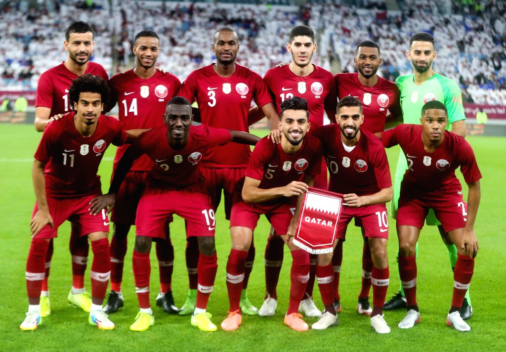 DOHA, Dec. 6, 2019 - Players of Qatar line up before the 24th Arabian Gulf Cup 2019 semifinal match between Qatar and Saudi Arabia in Doha, Qatar, Dec. 5, 2019.