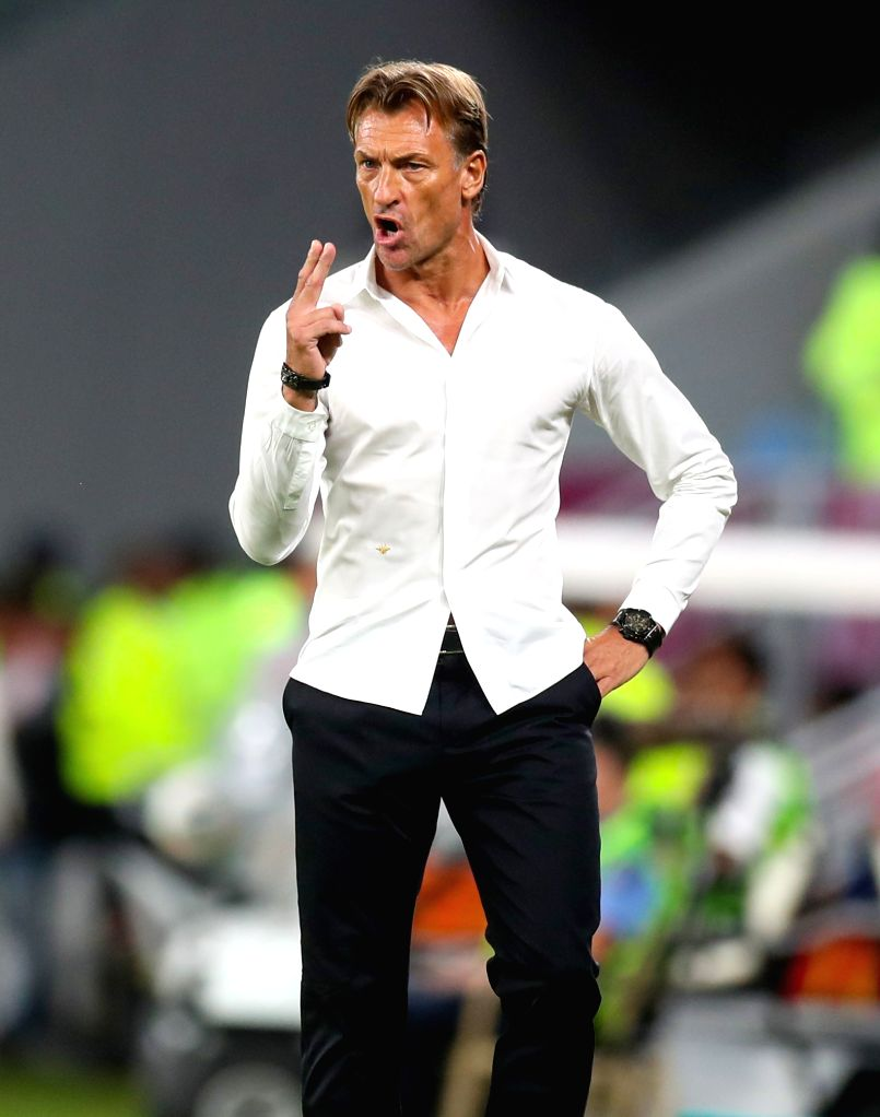 DOHA, Dec. 6, 2019 - Saudi Arabia's head coach Herve Renard reacts during the 24th Arabian Gulf Cup 2019 semifinal match between Qatar and Saudi Arabia in Doha, Qatar, Dec. 5, 2019.