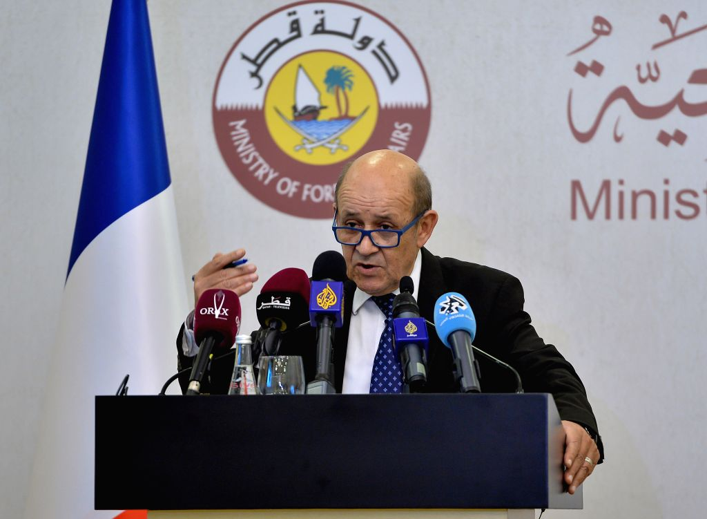 DOHA, Feb. 11, 2019 - French Foreign Minister Jean-Yves Le Drian attends a joint press conference with Qatari Foreign Minister Sheikh Mohammed bin Abdulrahman bin Jassim Al Thani (not in the picture) ... - Jean-Yves L and Mohammed