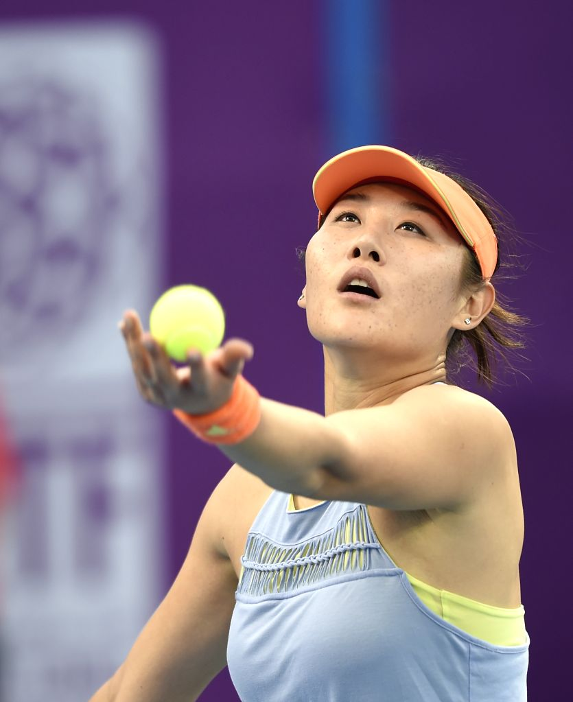 DOHA, Feb. 12, 2018 - Duan Yingying of China serves during the single's first round match against Ons Jabeur of Tunisia at the 2018 WTA Qatar Open in Doha, Qatar, on Feb. 12, 2018. Duan Yingying won ...