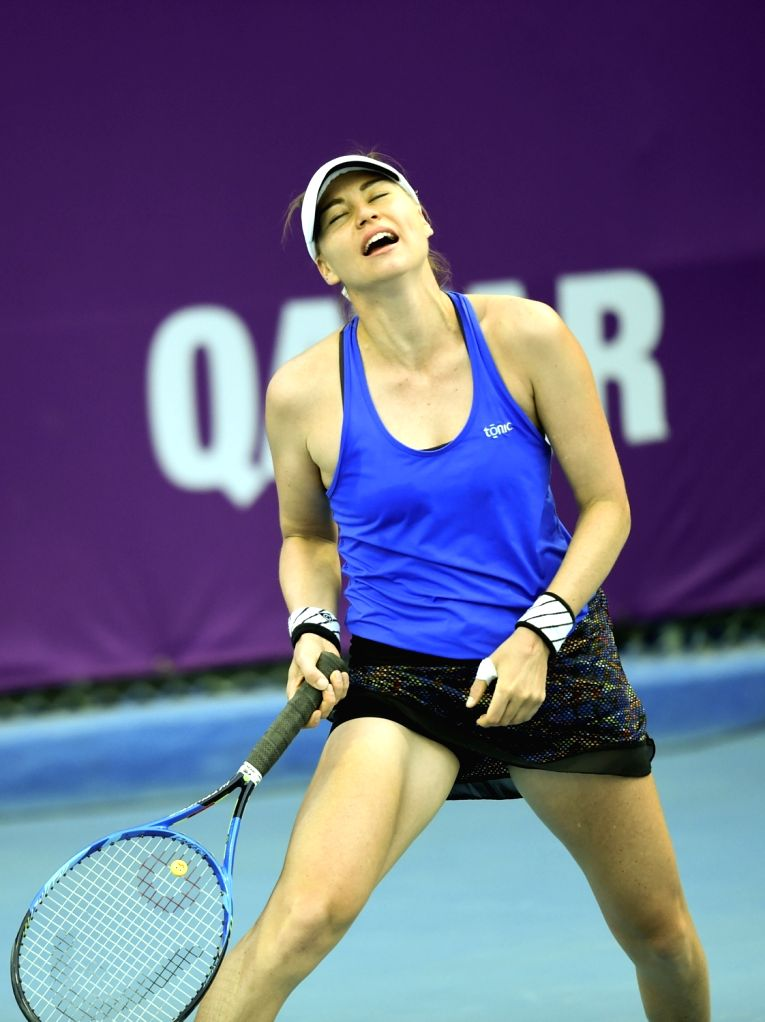 DOHA, Feb. 12, 2018 - Vera Zvonareva of Russia reacts during the qualifying match against Duan Yingying of China at the 2018 WTA Qatar Open in Doha, Qatar, on Feb. 11, 2018. Duan Yingying won 2-1 to ...
