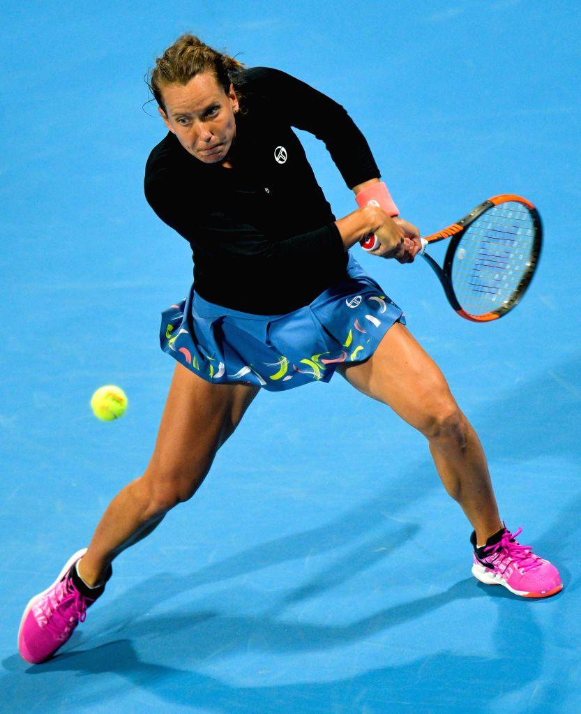 DOHA, Feb. 12, 2019 - Barbora Strycova of the Czech Republic returns the ball during the women's singles first round match between Barbora Strycova of the Czech Republic and Fatma Al Nabhani of Oman ...