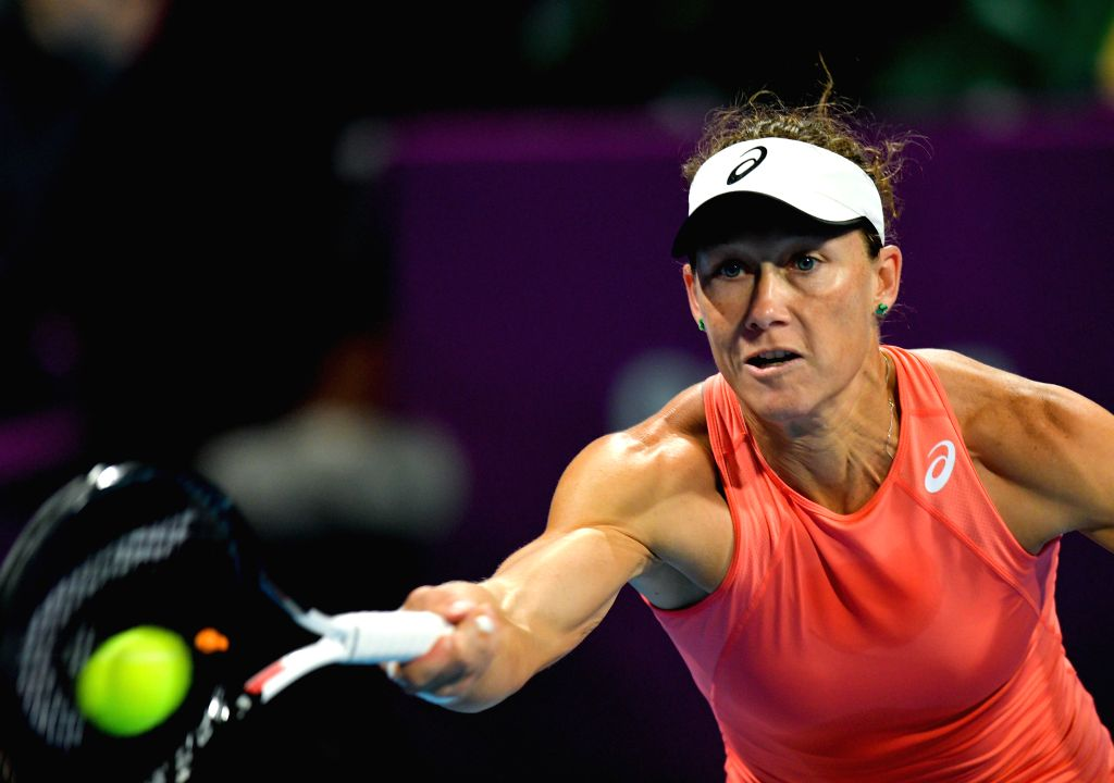 DOHA, Feb. 12, 2019 - Samantha Stosur of Australia hits a return during the women's singles qualifying final round between Anna Blinkova of Russia and Samantha Stosur of Australia at the 2019 WTA ...