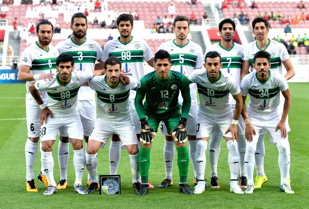 DOHA, Feb. 13, 2018 - Iran's Zob Ahan Esfahan F.C team players pose for a group photo ahead of their AFC Asian Champions League group B football match between Iran's Zob Ahan Esfahan F.C and Qatar's ...