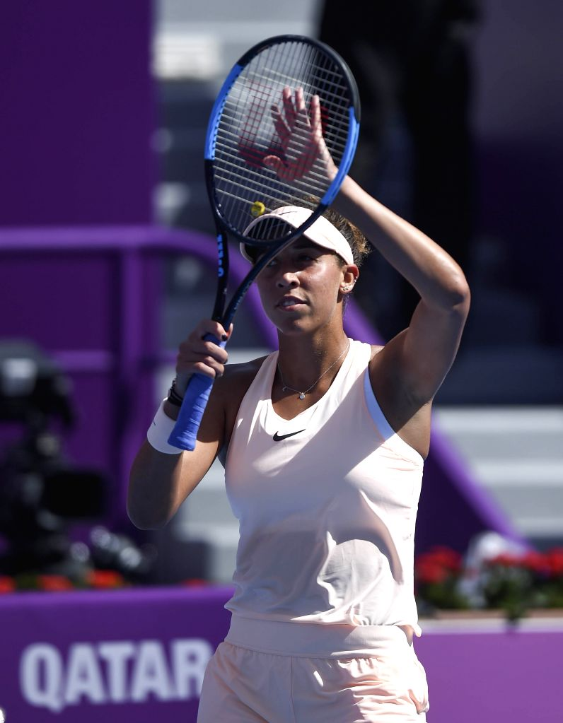 DOHA, Feb. 13, 2018 - Madison Keys of America celebrates after winning the singles first round match against Wang Qiang of China at the 2018 WTA Qatar Open in Doha, Qatar, on Feb. 13, 2018. Madison ...