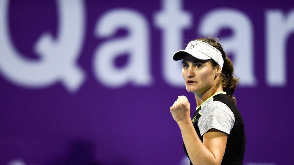 DOHA, Feb. 13, 2018 - Monica Niculescu of Romania celebrates during the single's first round match against Maria Sharapova of Russia at the 2018 WTA Qatar Open in Doha, Qatar, on Feb. 12, 2018. ...