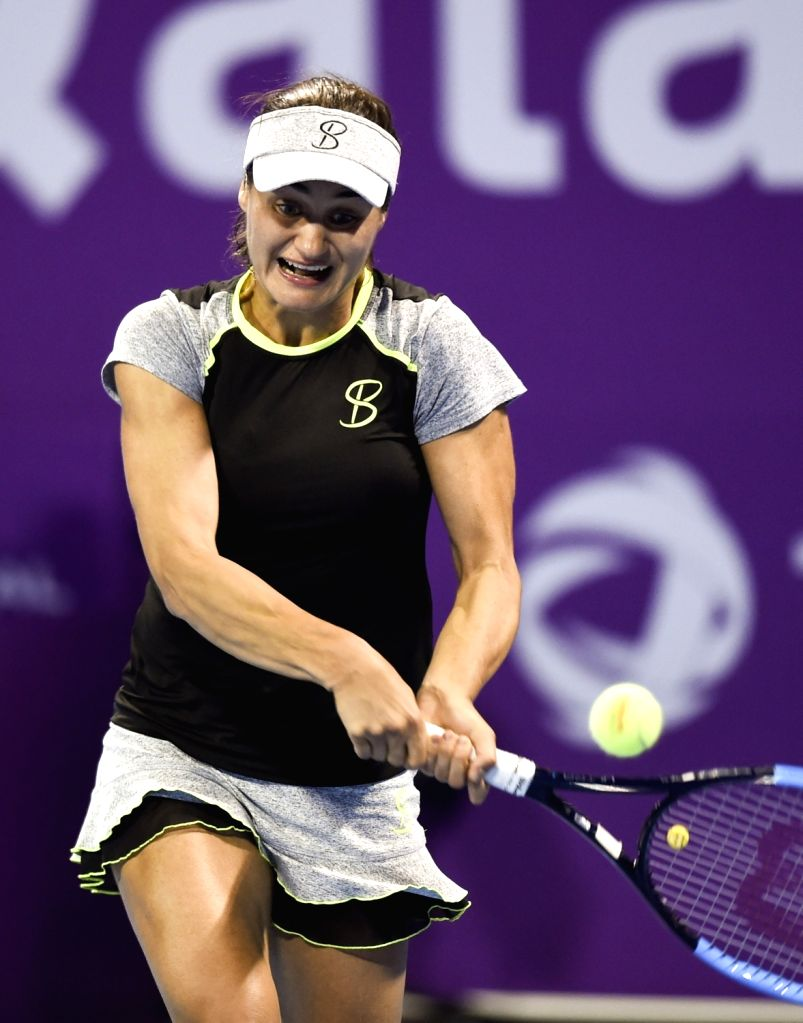 DOHA, Feb. 13, 2018 - Monica Niculescu of Romania hits a return during the single's first round match against Maria Sharapova of Russia at the 2018 WTA Qatar Open in Doha, Qatar, on Feb. 12, 2018. ...