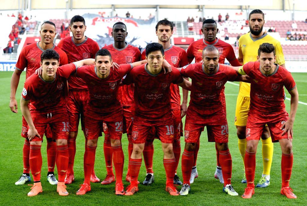 DOHA, Feb. 13, 2018 - Qatar's Al-Duhail SC team players pose for a group photo ahead of their AFC Asian Champions League group B football match between Iran's Zob Ahan Esfahan F.C and Qatar's AL ...