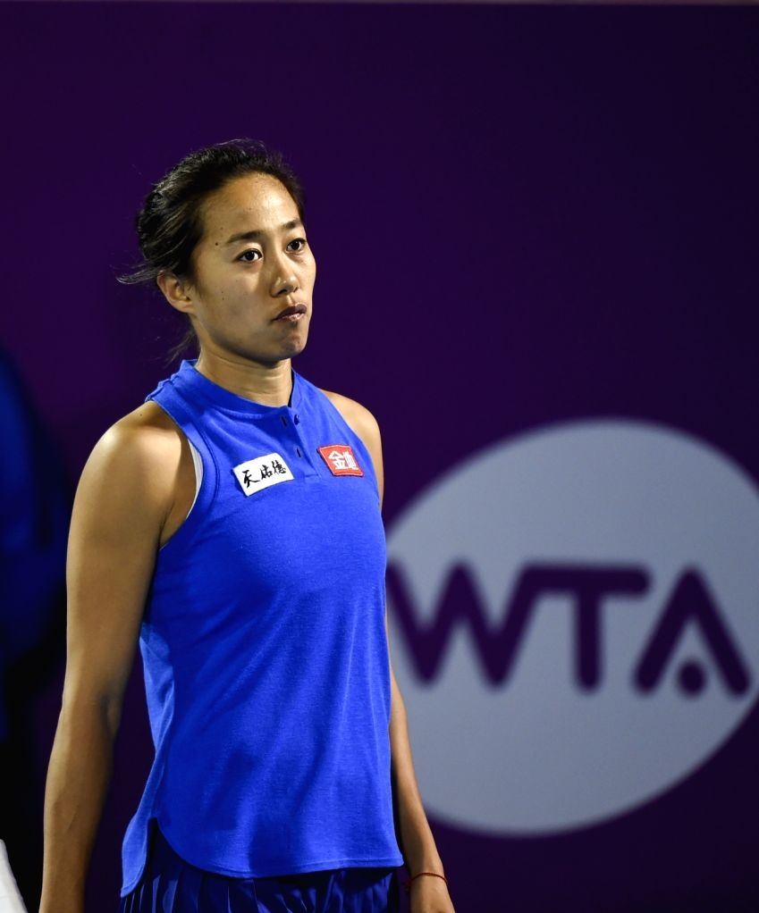 DOHA, Feb. 13, 2018 - Zhang Shuai of China reacts during the single's first round match against Ekaterina Makarova of Russia at the 2018 WTA Qatar Open in Doha, Qatar, on Feb. 12, 2018. Ekaterina ...